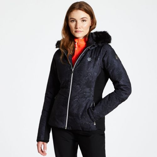 Women's Iceglaze Faux Fur Trim Luxe Ski Jacket - Black